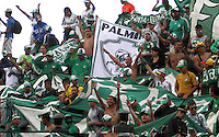 CAJAMARCA - PERU - 20-08-2014: Hinchas Deportivo Cali de Colombia, animan a su durante partido de ida de la primera fase, llave G13 de la Copa Total Suramericana entre Universidad Tecnologica de Cajamarca de Peru y Deportivo Cali de Colombia en el estadio Héroes de San Ramón, de la ciudad de Cajamarca./ Fans of Deportivo Cali of Colombia, cheer for their team during a match for the first round, of the first phase, Key G13 Universidad Tecnologica de Cajamarca of Peru and Deportivo Cali of Colombia, of the Copa Total Suramericana in the Héroes de San Ramón, Stadium in Cajamarca city. Photos: Libero de Lima / Photogamma / VizzorImage.