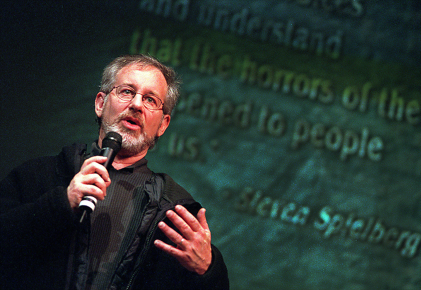 "Steven Spielberg visits a ""Facing History and Ourselves"" class at Whitney Young High School"