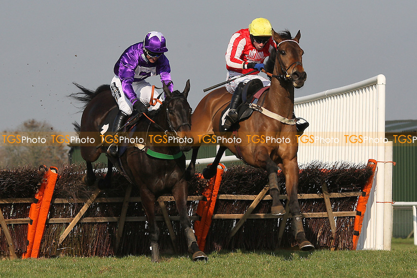 "Race winner Diamond Sweeper ridden by Wayne Hutchinson (R) jumps the last alongside Ballylifen ridden by Will Kennedy in the Call Star Sports On 08000 521321 ""National Hunt"" Novices Hurdle - Horse Racing at Plumpton Racecourse, East Sussex - 12/03/12 - MANDATORY CREDIT: Gavin Ellis/TGSPHOTO - Self billing applies where appropriate - 0845 094 6026 - contact@tgsphoto.co.uk - NO UNPAID USE."