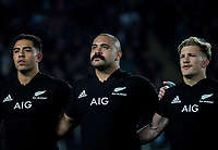 From left, NZ's Anton Lienert-Brown, Karl Tu'inukuafe and Damien McKenzie sing the national anthem during the Steinlager Series international rugby match between the New Zealand All Blacks and France at Eden Park in Auckland, New Zealand on Saturday, 9 June 2018. Photo: Dave Lintott / lintottphoto.co.nz