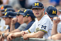 Michigan Wolverines designated hitter Dominic Clementi (13) before Game 2 of the NCAA College World Series Finals on June 25, 2019 at TD Ameritrade Park in Omaha, Nebraska. Vanderbilt defeated Michigan 4-1. (Andrew Woolley/Four Seam Images)