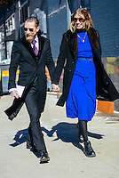 Justin O'Shea and Veronika Heilbrunner attend Day 2 of New York Fashion Week on Feb 13, 2015 (Photo by Hunter Abrams/Guest of a Guest)