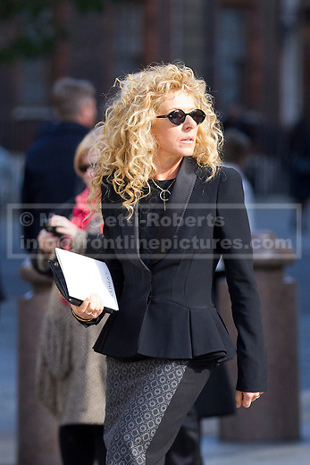 12/10/2012. LONDON, UK. Interior Designer Kelly Hoppen is seen outside St Paul's Cathedral after a memorial service for hairdresser Vidal Sassoon in London today (12/10/12) . Photo credit: Matt Cetti-Roberts