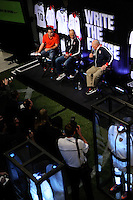National Soccer Hall of Fame member Walter Bahr (R) talks with USA National Team Head Coach Bob Bradley and Eric Wynalda (L) during the unveiling of the USA Men's National Team new uniform at Niketown in NYC, NY, on April 29, 2010.