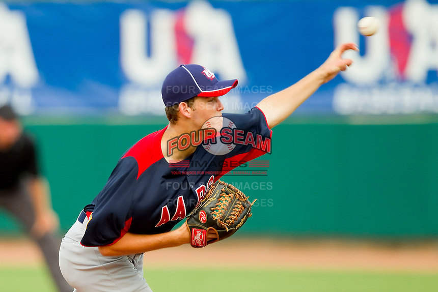 Cole Irvin #17 of AABC in action against Babe Ruth at the 2011 Tournament of Stars at the USA Baseball National Training Center on June 26, 2011 in Cary, North Carolina.  Babe Ruth defeated AABC 3-2 in the Gold Medal game. (Brian Westerholt/Four Seam Images)