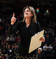 Virginia head coach Joanne Boyle calls a play during an NCAA college basketball game in Charlottesville, Va. Duke defeated Virginia 62-41..