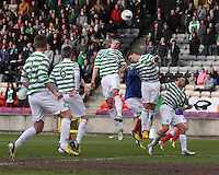 Pressure being put on the Celtic defence in the Celtic v Rangers City of Glasgow Cup Final match played at Firhill Stadium, Glasgow on 29.4.13,  organised by the Glasgow Football Association and sponsored by City Refrigeration Holdings Ltd.