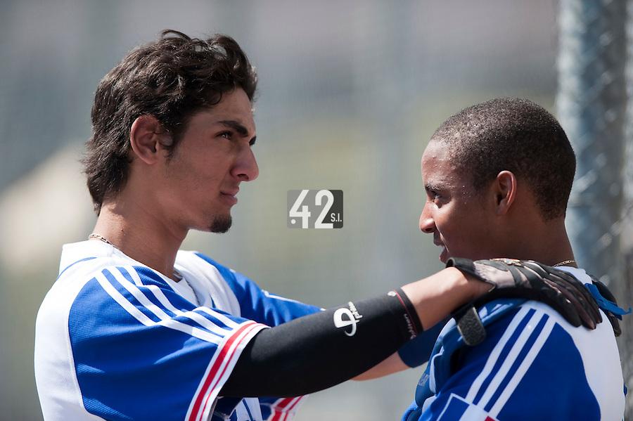 Baseball - 2009 European Championship Juniors (under 18 years old) - Bonn (Germany) - 05/08/2009 - Day 3 - Thomas Medina (France), Andy Paz (France)