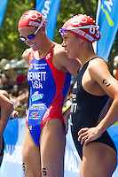 05 JUN 2011 - MADRID, ESP - Laura Bennett (left) talks with Andrea Hewitt before the start of the Madrid round of the women's ITU World Championship series (PHOTO (C) NIGEL FARROW)