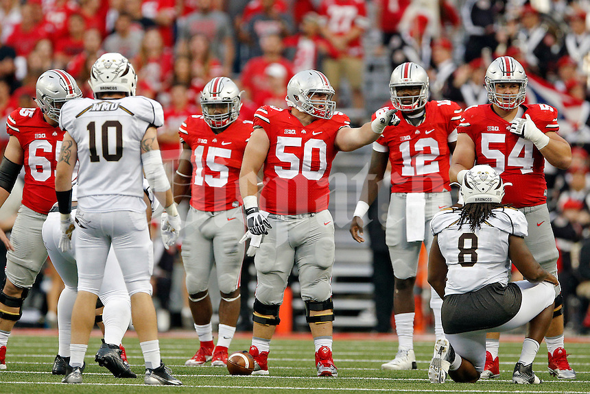 Ohio State Buckeyes offensive lineman Jacoby Boren (50) against Western Michigan Broncos in their game at Ohio Stadium on September 26, 2015.  (Dispatch photo by Kyle Robertson)