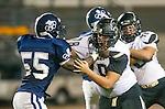 Lawndale, CA 10/18/13 - Luke Megginson (Peninsula #78) and \lu55\ in action during the Peninsula vs Leuzinger Varsity football game at Leuzinger High School.