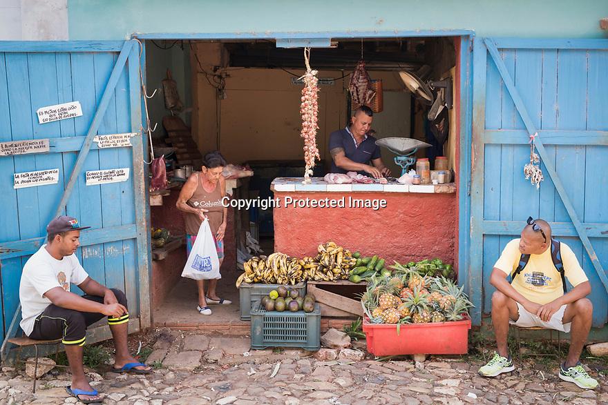 27/07/18<br /> <br /> Fruit and meat store.<br /> <br /> Trinidad, Cuba.<br /> <br /> All Rights Reserved, F Stop Press Ltd. (0)1335 344240 +44 (0)7765 242650  www.fstoppress.com rod@fstoppress.com