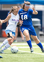 NWA Democrat-Gazette/CHARLIE KAIJO Southside High School Emily Forsgren (5) and Rogers High School midfielder Kristen Babbitt (18) fight for possession of the ball during the semifinals of the 7A Girls State Soccer Tournament, Saturday, May 12, 2018 at Whitey Smith Stadium at Rogers High School in Rogers. Rogers advanced to the finals when midfielder Skylurr Patrick (3) scored both of Rogers' goals defeating Southside High School, 2-1.