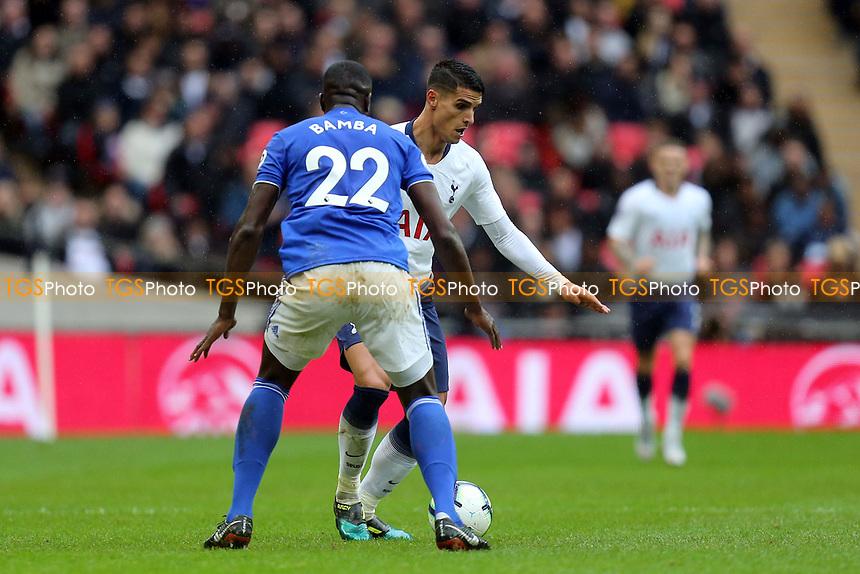 Souleymane Bamba of Cardiff City and Erik Lamela of Tottenham Hotspur during Tottenham Hotspur vs Cardiff City, Premier League Football at Wembley Stadium on 6th October 2018