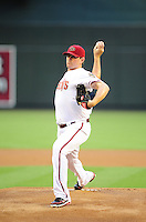 Jun. 8, 2012; Phoenix, AZ, USA; Arizona Diamondbacks pitcher Daniel Hudson throws in the first inning against the Oakland Athletics at Chase Field.  Mandatory Credit: Mark J. Rebilas-