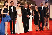 Qi Wei, Zhang Hanyu, Ha Ji-Won, John Woo, Angels Woo, Alberto Barbera and Tao Okamoto walk the red carpet ahead of the 'Manhunt (Zhuibu)' screening during the 74th Venice Film Festival at Sala Darsena on September 8, 2017 in Venice, Italy. <br /> CAP/GOL<br /> &copy;GOL/Capital Pictures