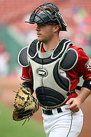 July 20th 2008:  Catcher Chris Gimenez of the Buffalo Bisons, Class-AAA affiliate of the Cleveland Indians, during a game at Dunn Tire Park in Buffalo, NY.  Photo by:  Mike Janes/Four Seam Images