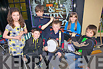 Lixnaw group, 'The Randoms' preforming on the streets of Abbeyfeale for the Street Busking Competition last Friday night as part of the annual Fleadh by the Feale, pictured l-r: Deirdre Hunt, Eamon Shanahan, Donal Hunt, Padraig Shanahan, Elena McElligott and Padraig Enright.