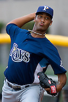 Wilking Rodriguez #36 of the Princeton Rays throws a bullpen session at DeVault Memorial Stadium June 26, 2009 in Bristol, Virginia. (Photo by Brian Westerholt / Four Seam Images)