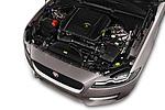 Car stock 2018 Jaguar XF Sportbrake R Sport 5 Door Wagon engine high angle detail view