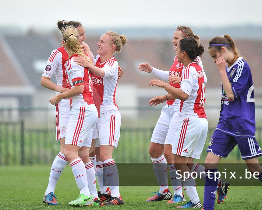 RSC Anderlecht Dames - Ajax Amsterdam : vreugde bij Leonne Stentler na de 0-4.foto DAVID CATRY / Nikonpro.be