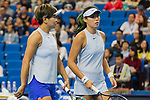 Chen Liang (L) and Zhaoxuan Yang (R) of China talk during the doubles Round Robin match of the WTA Elite Trophy Zhuhai 2017 against Ying-Ying Duan and Xinyun Han of China  at Hengqin Tennis Center on November  04, 2017 in Zhuhai, China. Photo by Yu Chun Christopher Wong / Power Sport Images
