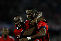MEDELLÍN -COLOMBIA-23-04-2017: Cristian Nazarit (Der) jugador del Medellín celebra con Juan F Caicedo después de anotar un gol durante el encuentro entre Independiente Medellín y Deportes Tolima por la fecha 14 de la Liga Águila I 2017 jugado en el estadio Atanasio Girardot de la ciudad de Medellín. / Cristian Nazarit player of Medellin celebrates with Juan F Caicedo after scoring a goal during match between Independiente Medellin and Deportes Tolima for date 14 of the Aguila League I 2017 at Atanasio Girardot stadium in Medellin city. Photo: VizzorImage/ León Monsalve / Cont