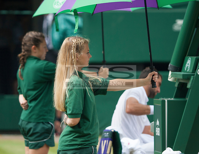 The Umbrella Girls on Centre Court, Wimbledon Championships 2017, Day 13, Mens Final, All England Lawn Tennis & Croquet Club, Church Rd, London, United Kingdom - 16th July 2017