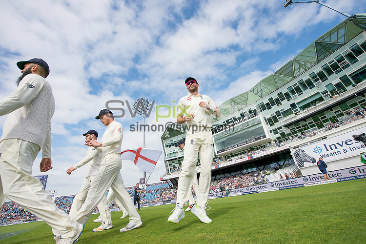 Picture by Allan McKenzie/SWpix.com - 27/08/2017 - Cricket - Investec Test - England v West Indies - Headingley Cricket Ground, Leeds, England - England's James Anderson comes out on the third morning of the Test match against the West Indies.