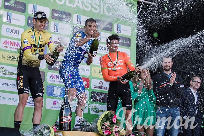 victory champagne shower:<br /> 1st place Zdenek Stybar (CZE/Deceuninck Quick Step)<br /> 2nd place Wout Van Aert (BEL/Jumbo-Visma)<br /> 3th place Greg Van Avermaet (BEL/CCC)<br /> <br /> 62nd E3 Harelbeke 2019 (1.UWT)<br /> Harelbeke – Harelbeke: 203,9km<br /> ©kramon