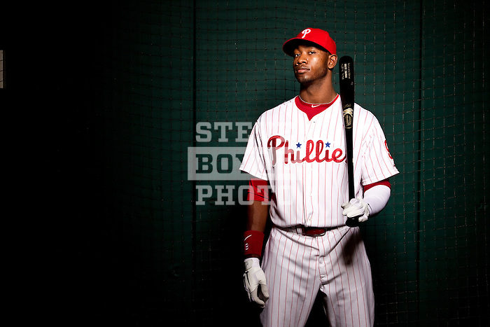 Philadelphia Phillies right fielder Dominic Brown on October 27, 2010 in Philadelphia, Pennsylvania...2010 © Steve Boyle