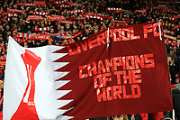 24th February 2020; Anfield, Liverpool, Merseyside, England; English Premier League Football, Liverpool versus West Ham United; Liverpool fans on the Kop display banners and hold scarves aloft