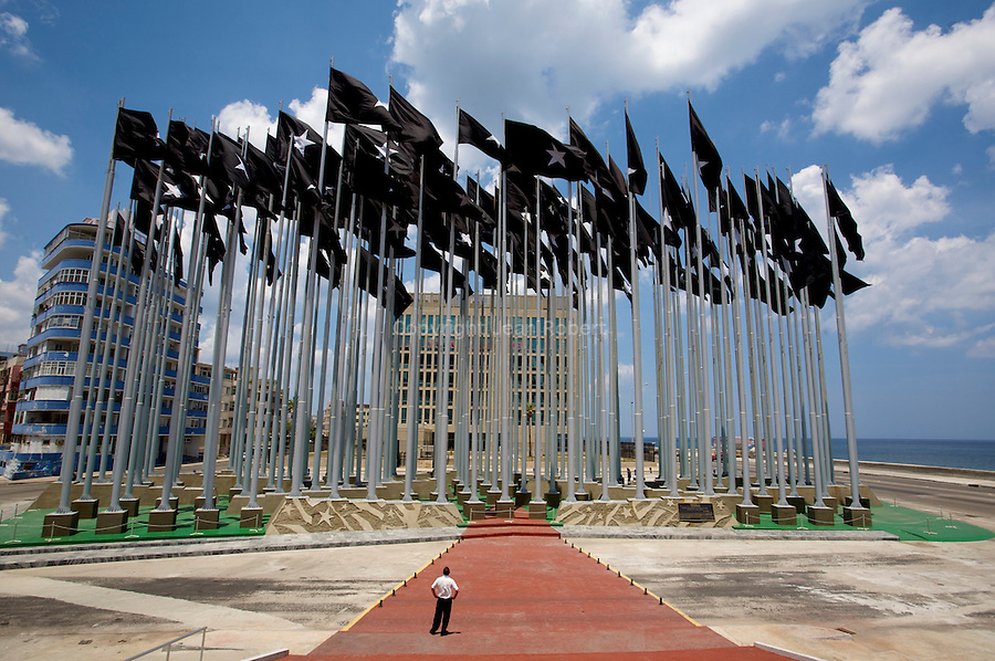 "The ""Mount of Flags"" in ""Anti-Imperialism Park"" which obscure the US interest section's electronic billboard on the Malecon. La havana"