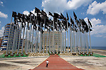 """The """"Mount of Flags"""" in """"Anti-Imperialism Park"""" which obscure the US interest section's electronic billboard on the Malecon. La havana"""