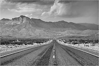 Texas State Highway 54 leads to the iconic El Capitan and Guadalupe Mountains National Park. The distance is nearly 60 miles from Van Horn, Texas, to the base of the rugged peaks, and it is often straight as far as you can see. <br />