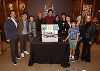 LOS ANGELES - FEBRUARY 27: In honor of Fresh Off the Boat's 100th episode TCFTV president Jonnie Davis and ABC Entertainment president Karey Burke, Executive Producer Nahnatchka Khan and cast members Randall Park, Constance Wu, Hudson Yang, Ian Chen, Forrest Wheeler, Lucille Soong, Chelsea Crisp and Ray Wise celebrated with an elaborate cake-cutting and champagne toast on Stage 88 on the Fox Lot on Wednesday afternoon. (Photo by Frank Micelotta/TCFTV/PictureGroup)