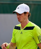 France, Paris, 02.06.2014. Tennis, French Open, Roland Garros, Andy Murray (GBR) makes a face<br /> Photo:Tennisimages/Henk Koster