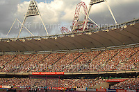 A completely sold out stadium at the Sainsbury Anniversary Games, Olympic Stadium, London England,Saturday 27th July 2013-Copyright owned by Jeff Thomas Photography-www.jaypics.photoshelter.com-07837 386244. No pictures must be copied or downloaded without the authorisation of the copyright owner.