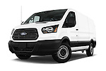 Stock pictures of low aggressive front three quarter view of a 2015 Ford Transit 150 Van 2 Door  Low Aggressive