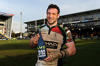 20130317 Copyright onEdition 2013©.Free for editorial use image, please credit: onEdition..Man of the Match Tom Guest of Harlequins after winning the LV= Cup Final between Harlequins and Sale Sharks at Sixways Stadium on Sunday 17th March 2013 (Photo by Rob Munro)..For press contacts contact: Sam Feasey at brandRapport on M: +44 (0)7717 757114 E: SFeasey@brand-rapport.com..If you require a higher resolution image or you have any other onEdition photographic enquiries, please contact onEdition on 0845 900 2 900 or email info@onEdition.com.This image is copyright onEdition 2013©..This image has been supplied by onEdition and must be credited onEdition. The author is asserting his full Moral rights in relation to the publication of this image. Rights for onward transmission of any image or file is not granted or implied. Changing or deleting Copyright information is illegal as specified in the Copyright, Design and Patents Act 1988. If you are in any way unsure of your right to publish this image please contact onEdition on 0845 900 2 900 or email info@onEdition.com