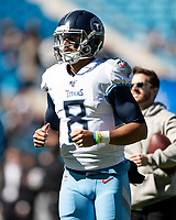 CHARLOTTE, NC - NOVEMBER 3: Marcus Mariota #8 of the Tennessee Titans prior to the game between the Carolina Panthers and the Tennessee Titans during a game between Tennessee Titans and Carolina Panthers at Bank of America Stadium on November 3, 2019 in Charlotte, North Carolina.