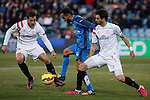 Getafe´s Diego Castro and Sevilla´s Arribas and Krychowiak during 2014-15 La Liga match at Alfonso Perez Coliseum stadium in Getafe, Spain. February 08, 2015. (ALTERPHOTOS/Victor Blanco)