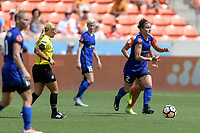 Houston, TX - Saturday May 27, 2017: Christine Nairn brings the ball up the field during a regular season National Women's Soccer League (NWSL) match between the Houston Dash and the Seattle Reign FC at BBVA Compass Stadium.