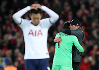 27th October 2019; Anfield, Liverpool, Merseyside, England; English Premier League Football, Liverpool versus Tottenham Hotspur;  Liverpool manager Jurgen Klopp hugs Liverpool goalkeeper Alisson after the final whistle - Strictly Editorial Use Only. No use with unauthorized audio, video, data, fixture lists, club/league logos or 'live' services. Online in-match use limited to 120 images, no video emulation. No use in betting, games or single club/league/player publications