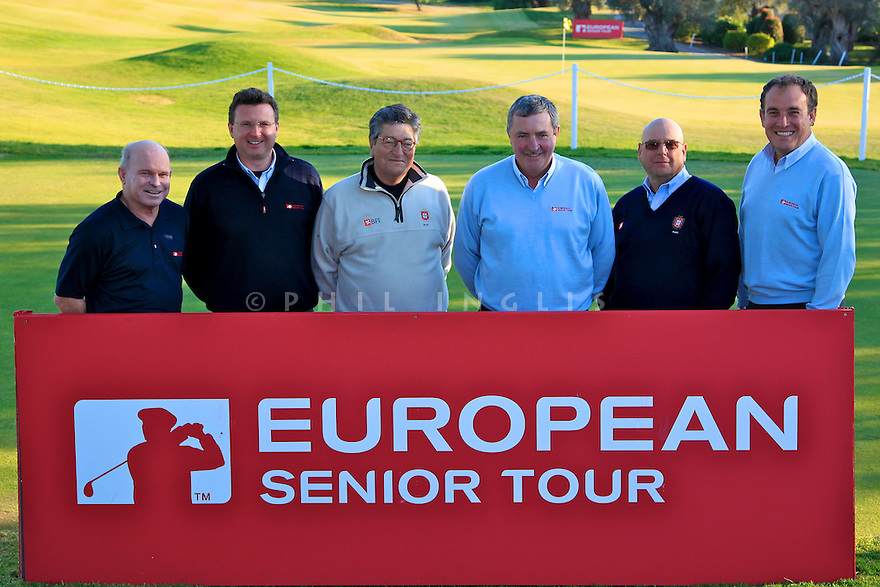 Referees pose for the media after the final round European Senior Tour Qualifying School Finals played at Pestana Pinta Resort on 2nd February 2012 in Vale da Pinta, Carvoeiro, Portugal. (Picture Credit / Phil Inglis)