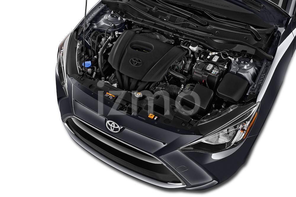 Car Stock 2017 Toyota Yaris-iA AT 4 Door Sedan Engine  high angle detail view