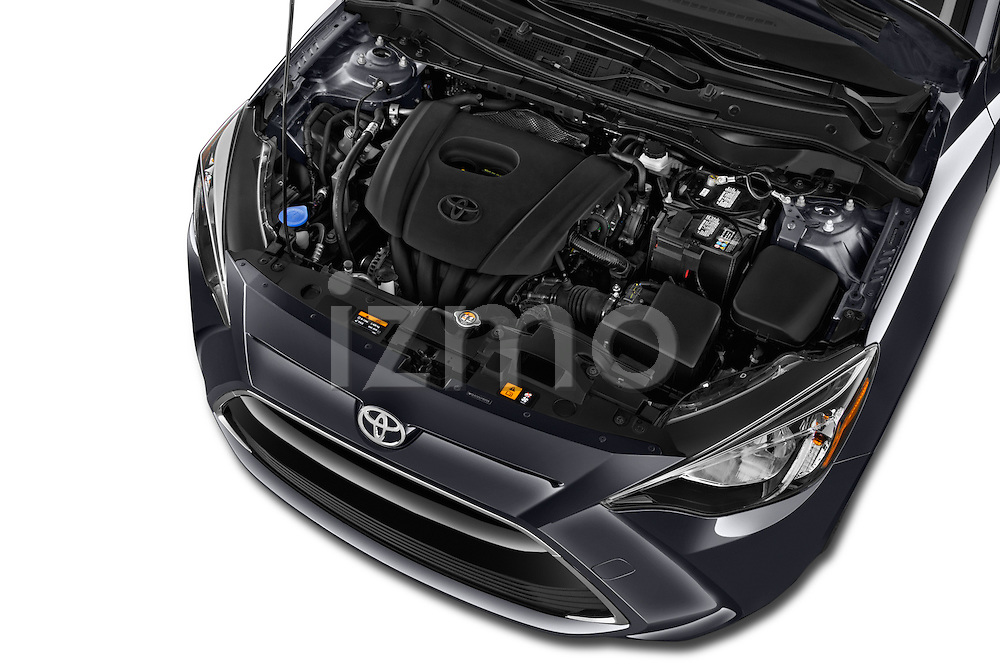 Car Stock 2018 Toyota Yaris-iA AT 4 Door Sedan Engine  high angle detail view