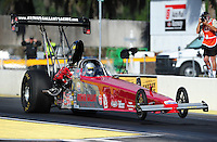 Mar. 12, 2012; Gainesville, FL, USA; NHRA top alcohol dragster driver Arthur Gallant during the Gatornationals at Auto Plus Raceway at Gainesville. The race is being completed on Monday after rain on Sunday. Mandatory Credit: Mark J. Rebilas-