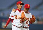 (L to R) Liu Yu (CHN), Li Lei (CHN), .February 27, 2013 - WBC : .2013 World Baseball Classic, Exhibithion Game .match between China 1-8 ORIX Buffaloes .at Kyocera Dome, Osaka, Japan..(Photo by AJPS/AFLO SPORT)