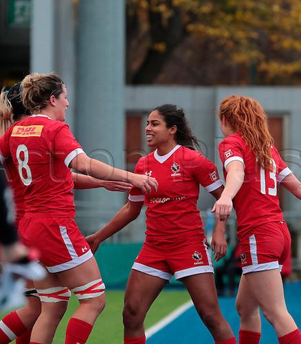 23.11.2016. Donnybrook Stadium, Dublin, Ireland. November Series. Canada women versus New Zealand women. Canada celebrate their try.